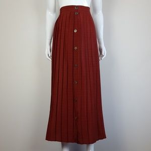 Vintage Red Plaid Pleated Maxi Skirt